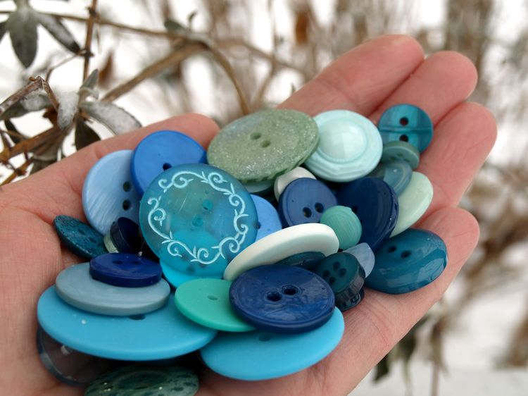 Handful of blue buttons