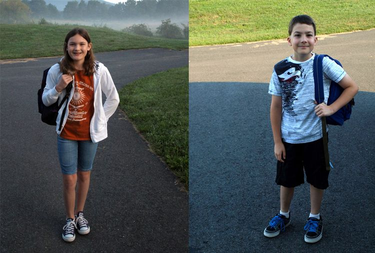 Sarah and ben 1st day of school