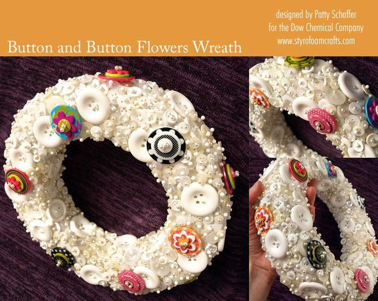 Button and button flowers wreath