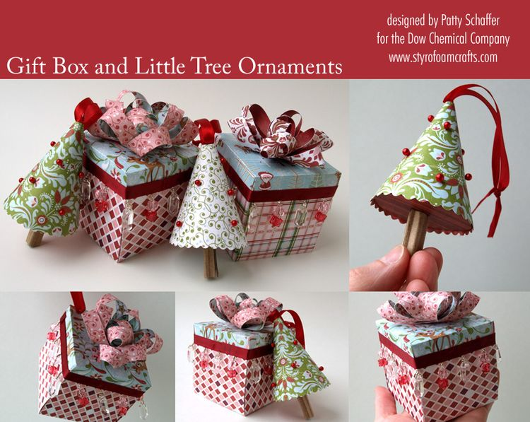 Gift box and tree ornaments