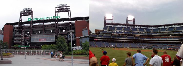 Outside and inside stadium