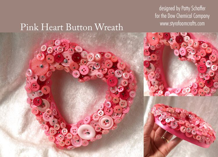 Pink heart button wreath