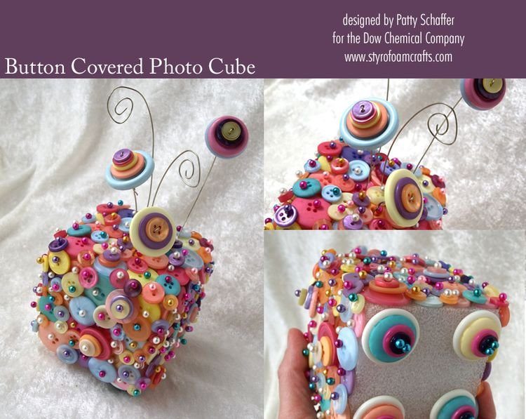 Button covered photo cube
