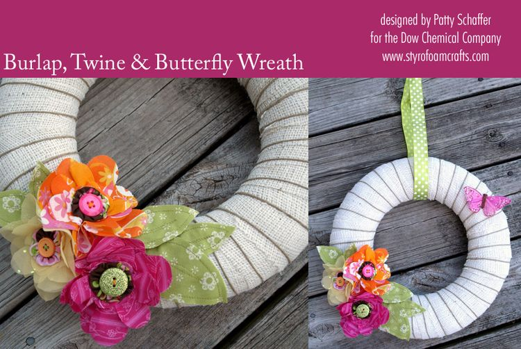 Burlap twine and butterfly wreath