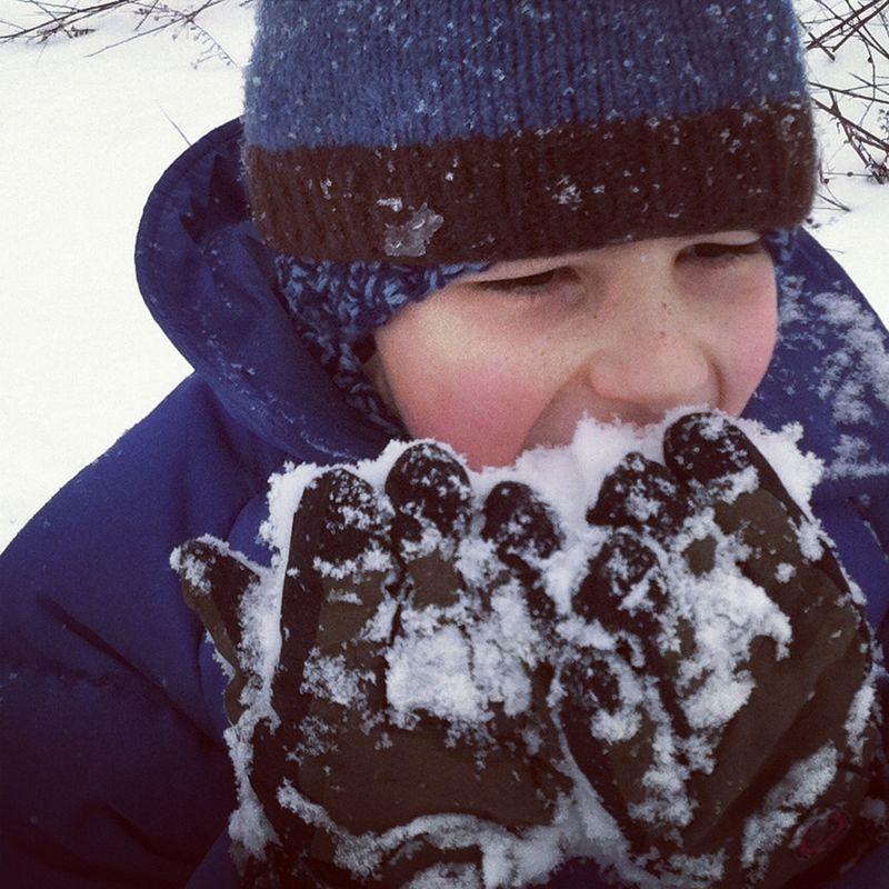 Ben eating snow