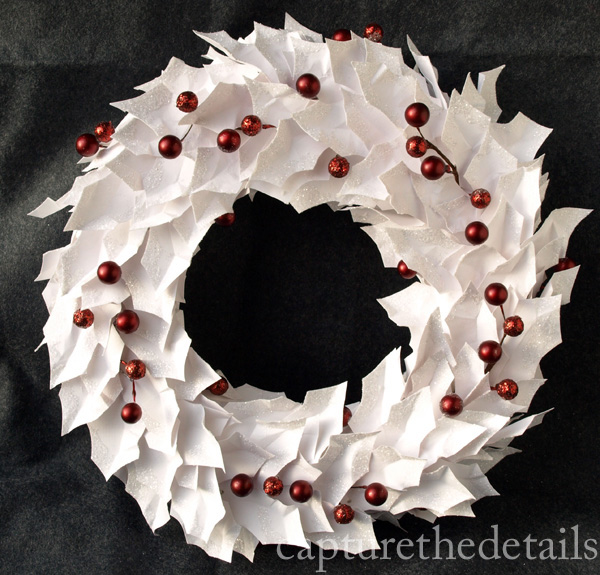 White holly leeaf wreath