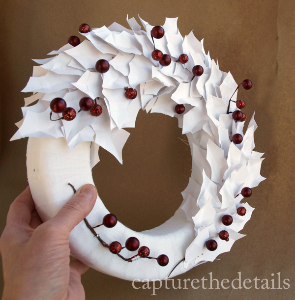 White holly leaf wreath in progress
