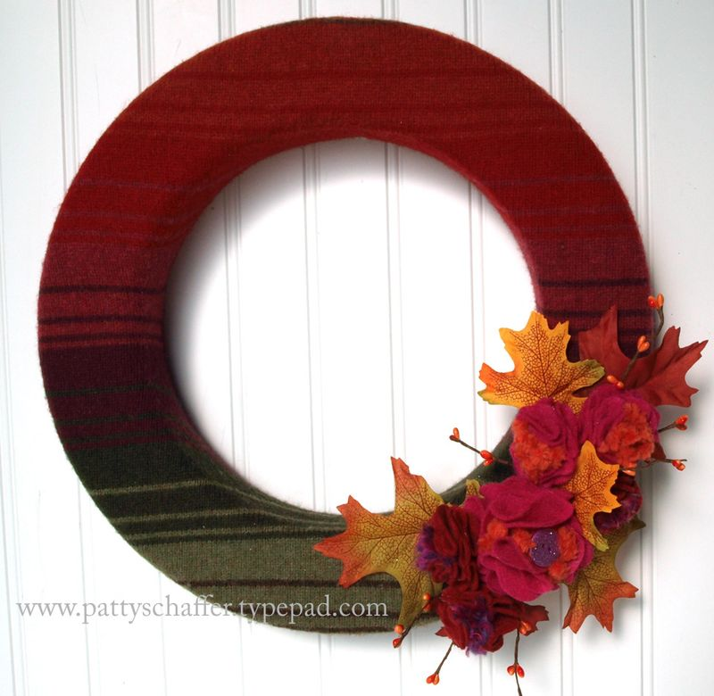 Fall sweater wreath with stripes
