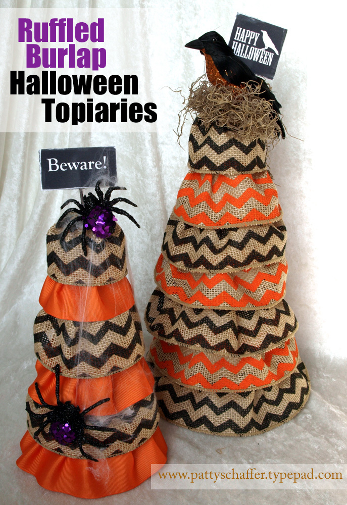 Halloween burlap topiaries