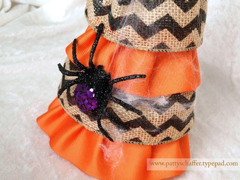 Halloween burlap topiaries detail 2