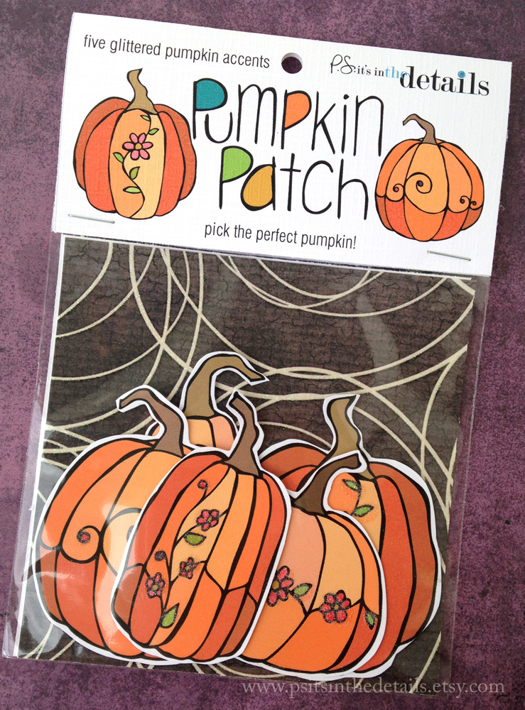 Glittered pumpkins packaging etsy