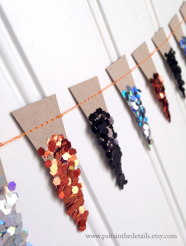 Halloween glittery mini pennant garland detail 2 etsy