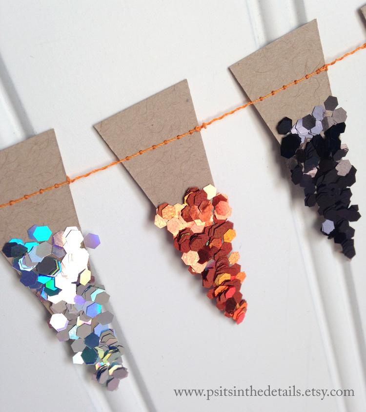 Halloween glittery mini pennant garland detail 3 etsy