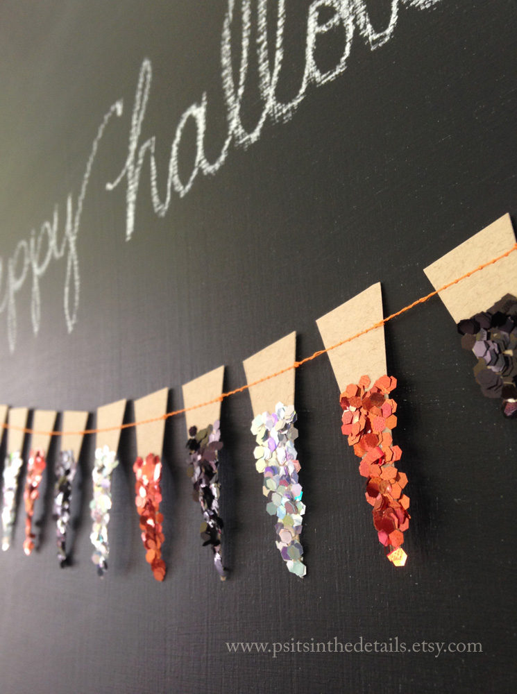 Halloween glittery mini pennant garland detail etsy