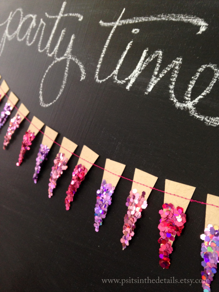 Purple glittery mini pennant garland detail 3 etsy