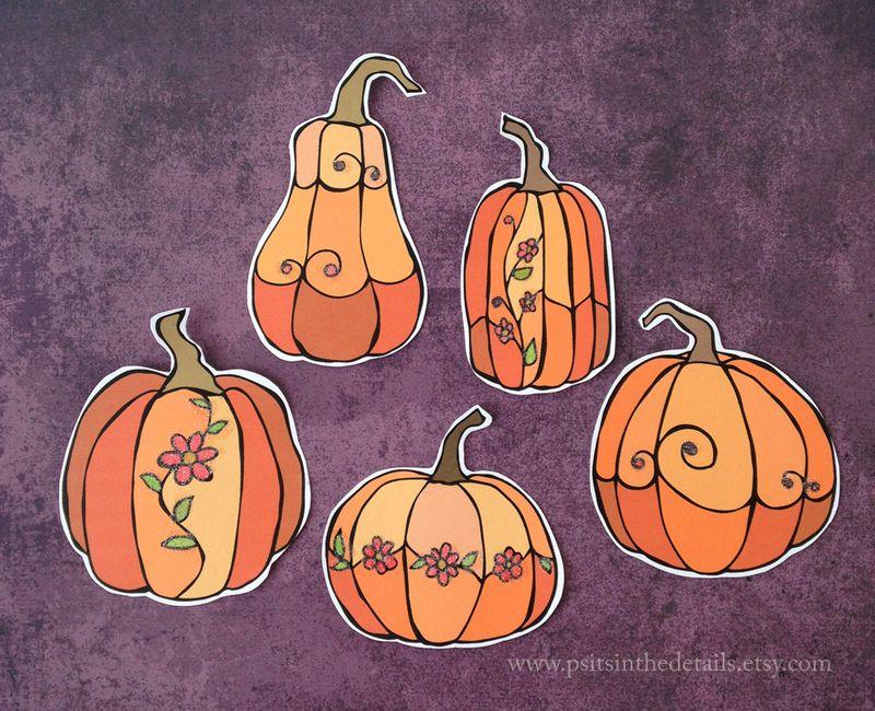 Glittered pumpkins etsy