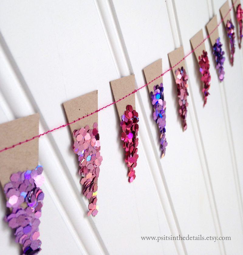 Purple glittery mini pennant garland detail etsy
