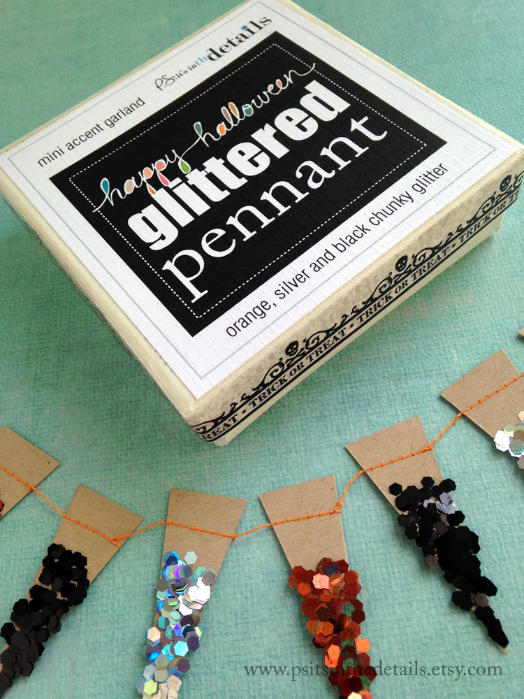 Halloween glittery minipennant garland packaging etsy