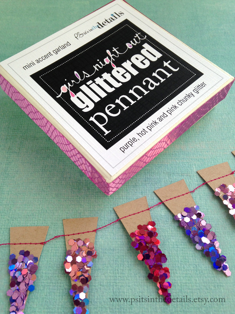 Girlsnightout glittery mini pennant garland packaging etsy
