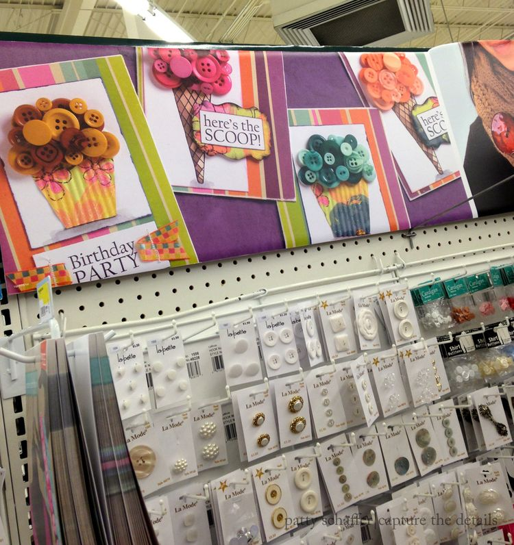 Button inspiration board at jo-ann fabric stores