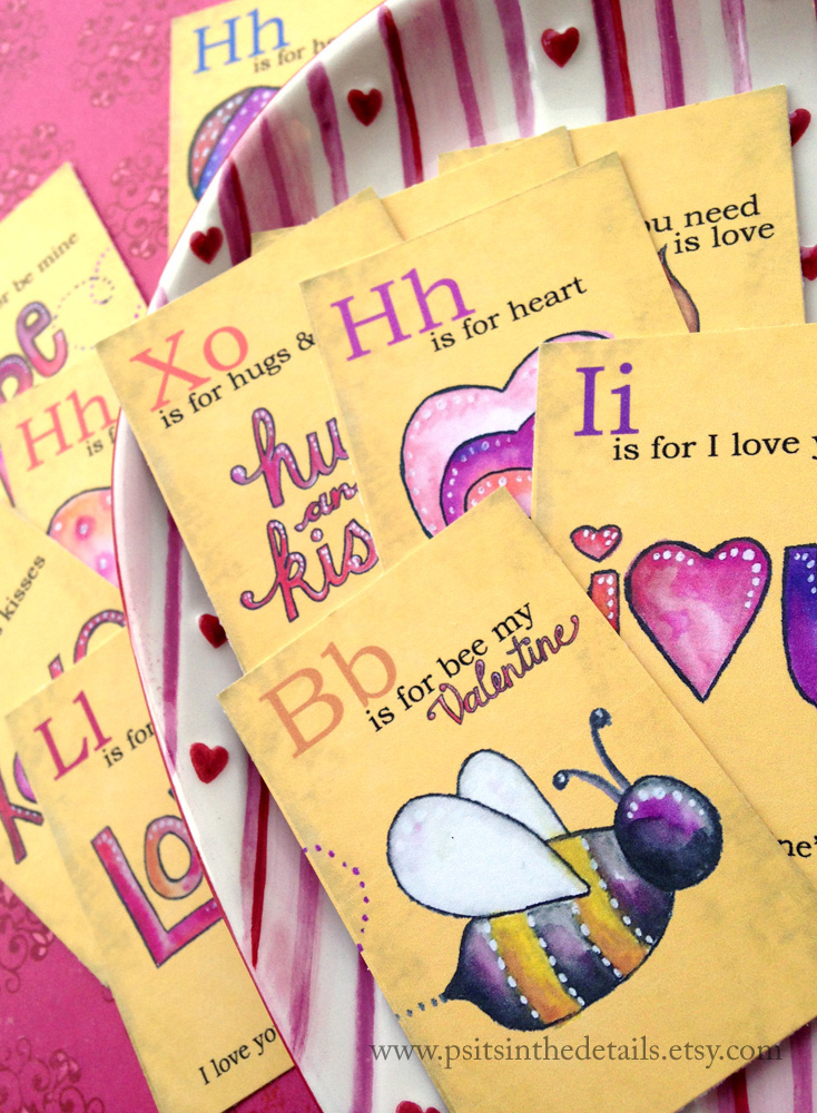 Valentine mini flash cards - bee
