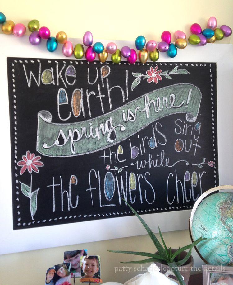Wake up earth chalkboard