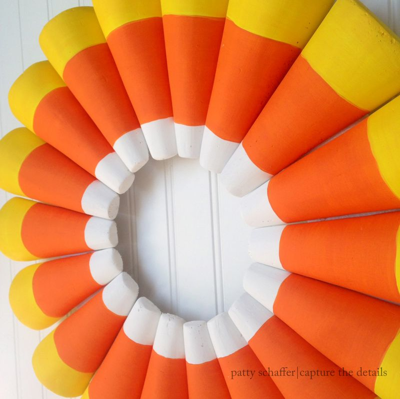 Candy corn wreath side view