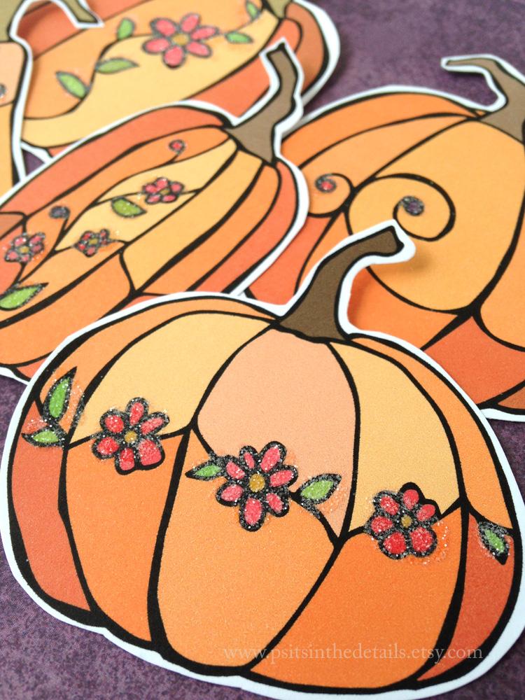Glittered pumpkins detail etsy