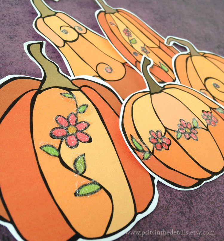 Glittered pumpkins detail 3 etsy