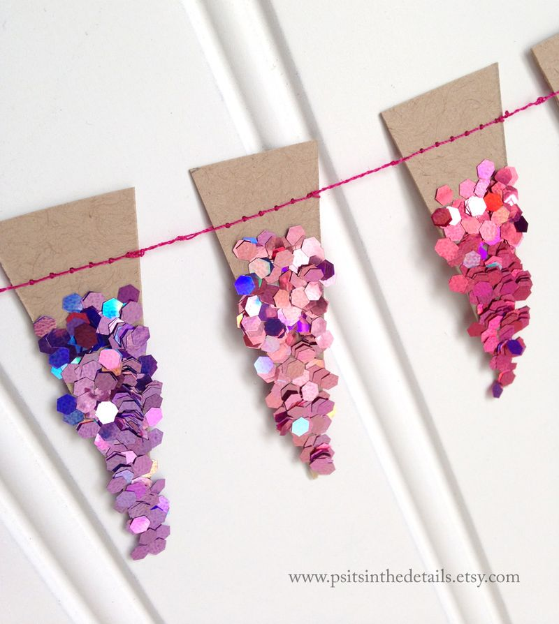 Purple glittery mini pennant garland detail 2 etsy