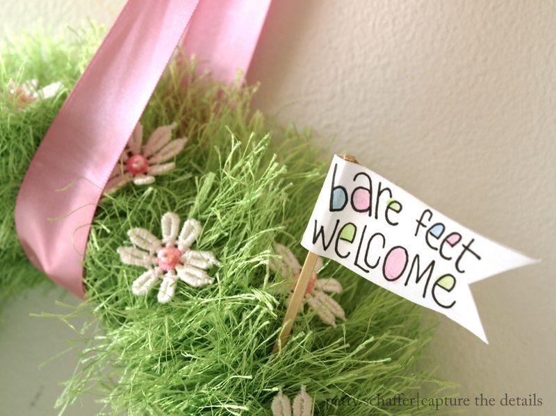 Spring babygrass wreath sign