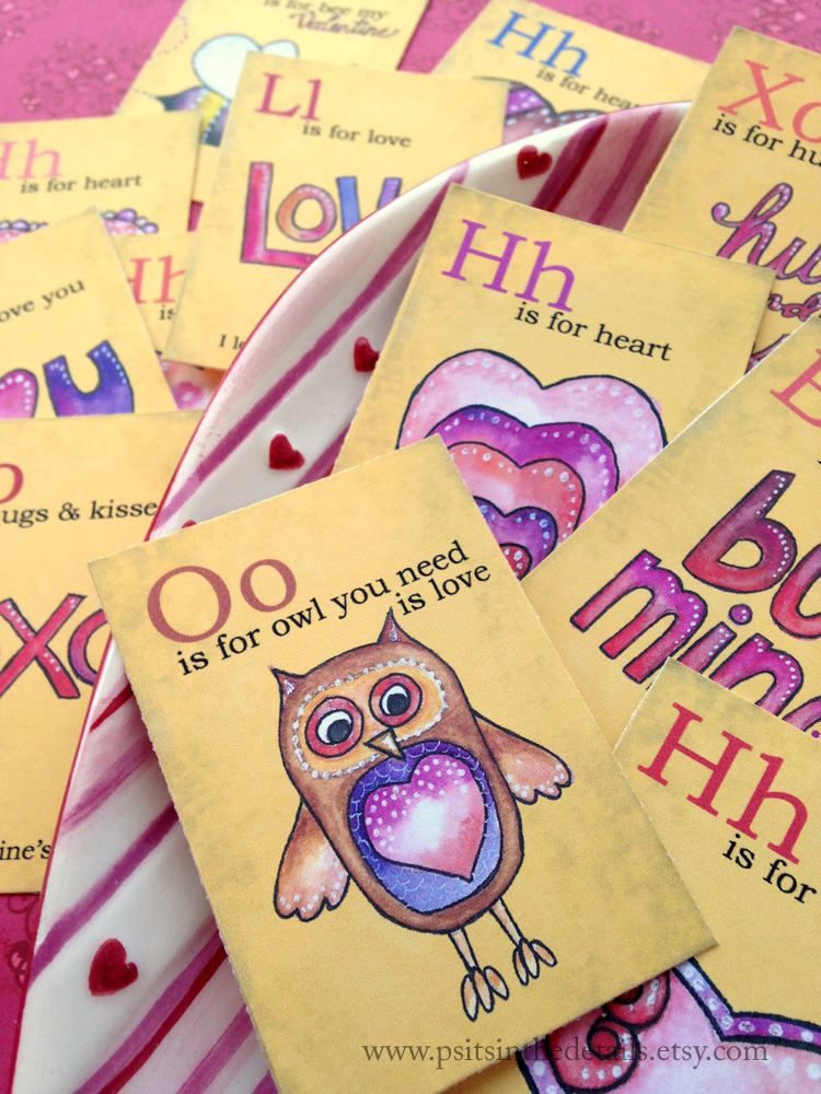 Valentine mini flash cards - owl
