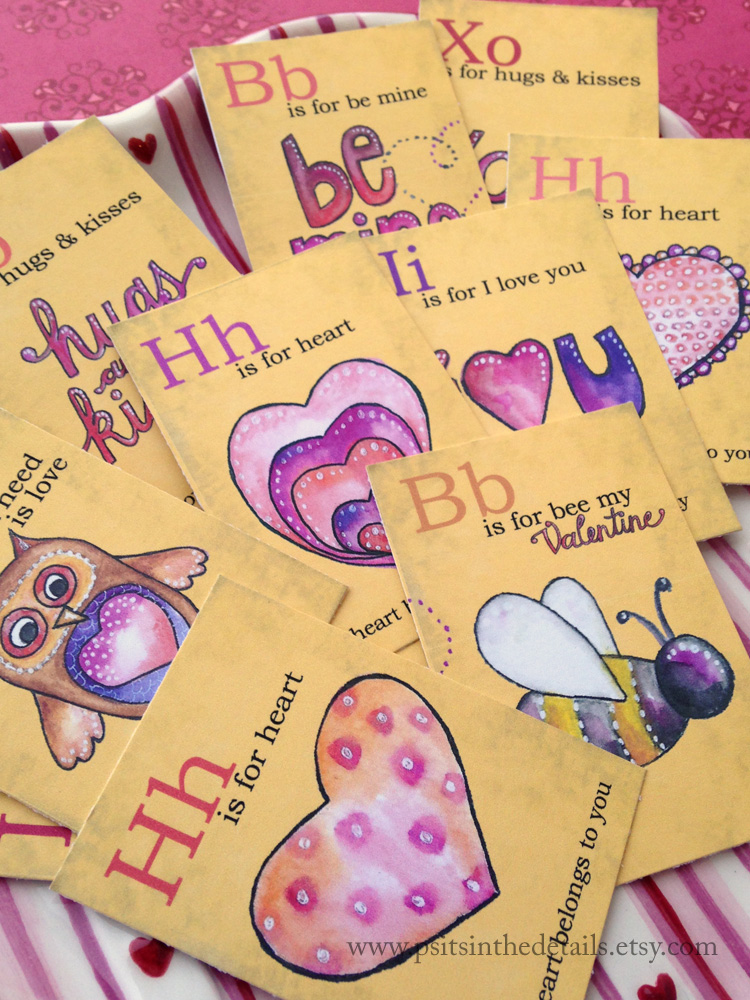Valentine mini flash cards - heart