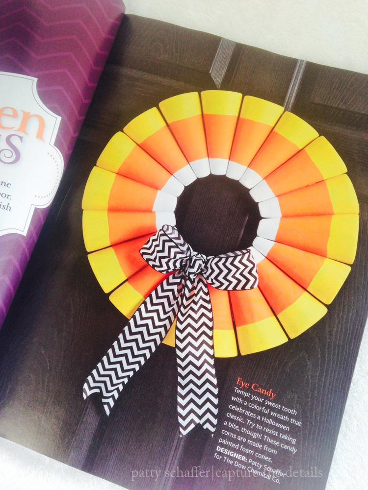 Candy corn wreath in magazine